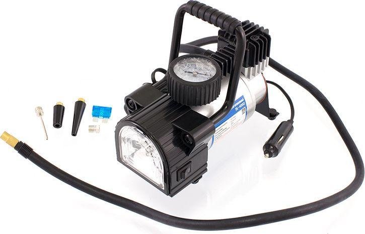 Компрессор автомобильный DolleX, предохранитель, фонарь, сумка, 12V, 14 A, 150PSI, 40 л/минDW60LПроизводительность: 40 л/мин Напряжение: 12-13,5 В Максимальный ток: 14А Максимальное давление: 10 кг/см3 (150 PSI) Тип фонаря: светодиодный Алюминиевый корпус, мотор с прямым приводом, в конструкции отсутствуют шестерни, металлические поршень и клапаны, низкий уровень шума (69 Дб), яркий светодиодный фонарь, брезентовая сумка в комплекте.