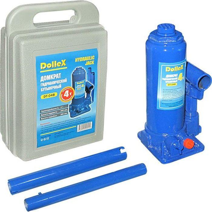Домкрат гидравлический бутылочный DolleX, 4,0 т, 200-380 мм, в кейсеДЭ-310шОтличительные особенности домкрата:- Предохранительный клапан - Удобная упаковкаТехнические характеристики: Грузоподъемность 4,0 тВысота подхвата 200 мм Высота подъема, 380 мм Ход штока, 120 мм Ход удлинительного винта 60 мм Вес домкрата 3,30 кгКомплектация:1. Домкрат; 2. Рукоятка; 3. Кейс для хранения; 4. Паспорт изделия. Гарантия 2 года.