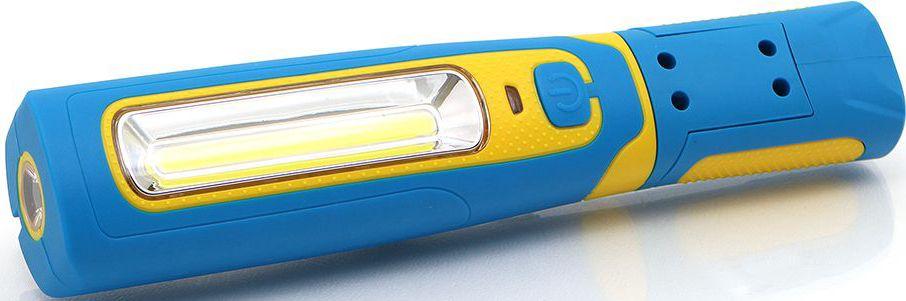 Фонарь инспекционный DolleX, аккумуляторный, COB (3W) + 1хLED, магнит, крючокVA4211 WD1Супер яркий фонарик в ударопрочном корпусе, выполненном из ABS пластика с резиновыми противоскользящими вставками. - Фонарик оборудован подвесным крюком для дополнительного удобства эксплуатации.- Вращающий на 180С магнитный держатель позволяет закрепить фонарик на металлической поверхности, предоставив полную свободу действий.- Два ярких светодиода 3W+1W произведены по технологии COB(Chip-On-Board) обеспечивают широкий и яркий луч света. - Аккумулятор Li-ion 3,7V 2200mA - Время непрерывной работы: 2,5 часа - Время полной зарядки: 4,5 часа- Цветовая температура 7800К- Световой поток 250 люмен - Два магнитных держателя - Поворотный в 2-х плоскостях корпус лампы - В комплекте адаптер для зарядки от автомобильной розетки и зарядное устройство от сети 220V - Размер фонаря 243х52х43мм
