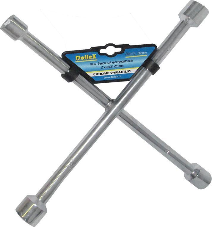 Ключ баллонный DolleX, крест, 17х19х21х23, цвет: хром80621Изготовлен из хром-ванадиевой стали.