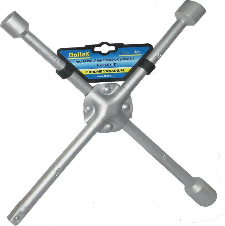 Ключ баллонный DolleX, крест, усиленный, 17х19х21х1/2CA-3505Изготовлен из хром-ванадиевой стали.