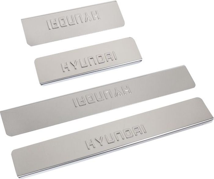 Накладки внутренних порогов DolleX, для HYUNDAI i30 (2013->), 4 штG.0901.001Придают автомобилю стильный и неповторимый вид, эффективно защищают пороги от повреждения лакокрасочного покрытия.Отличительные особенности:- Полированная нержавеющая сталь- Толщина стали 0,5 мм.- Стильный внешний вид- Легкая и быстрая установка- Крепление лента липкая двухсторонняяКомплект:размер 550х77мм - 2штразмер 200х77мм - 2шт
