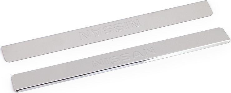 Накладки внутренних порогов DolleX, для NISSAN Juke (2014->), 2 шт111.04725.1Придают автомобилю стильный и неповторимый вид, эффективно защищают пороги от повреждения лакокрасочного покрытия.Отличительные особенности:- Полированная нержавеющая сталь- Толщина стали 0,5 мм.- Стильный внешний вид- Легкая и быстрая установка- Крепление лента липкая двухсторонняяКомплект:размер 450х46мм - 2шт