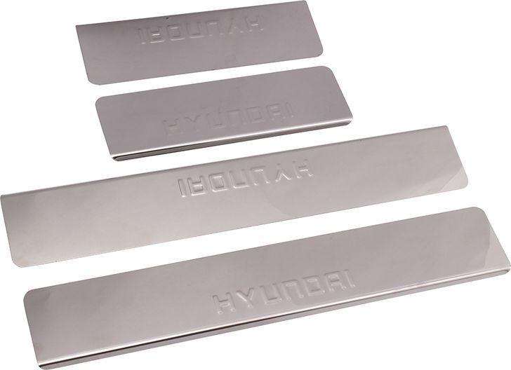 Накладки внутренних порогов DolleX, для HYUNDAI Getz (2002-2011), 4 штNPS-056Придают автомобилю стильный и неповторимый вид, эффективно защищают пороги от повреждения лакокрасочного покрытия.Отличительные особенности:- Полированная нержавеющая сталь- Толщина стали 0,5 мм.- Стильный внешний вид- Легкая и быстрая установка- Крепление лента липкая двухсторонняяКомплект:размер 450х77 мм. - 2 шт.размер 250х77 мм. - 2 шт.
