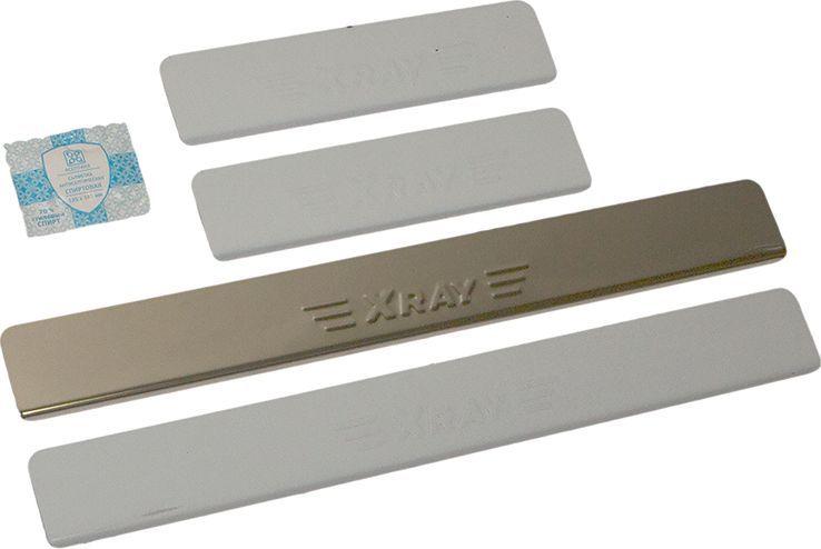 Накладки внутренних порогов DolleX, для Lada XRAY, штамп XRAY, 4 шт1004900000360Придают автомобилю стильный и неповторимый вид, эффективно защищают пороги от повреждения лакокрасочного покрытия.Отличительные особенности:- Полированная нержавеющая сталь- Толщина стали 0,5 мм.- Стильный внешний вид- Легкая и быстрая установка- Крепление лента липкая двухсторонняяКомплект:размер 500х61 мм. - 2 шт.размер 250х61 мм. - 2 шт.