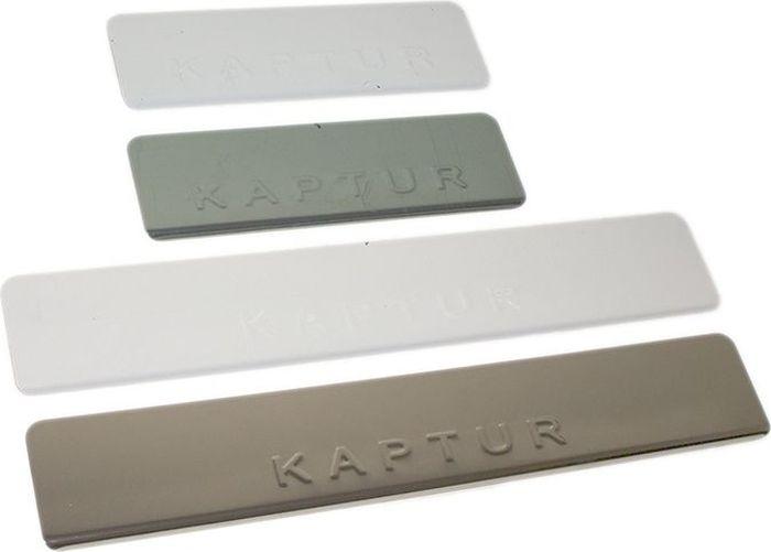 Накладки внутренних порогов DolleX, для RENAULT Kaptur, штамп KAPTUR, 4 шт21395599Придают автомобилю стильный и неповторимый вид, эффективно защищают пороги от повреждения лакокрасочного покрытия.Отличительные особенности:- Полированная нержавеющая сталь- Толщина стали 0,5 мм.- Стильный внешний вид- Легкая и быстрая установка- Крепление лента липкая двухсторонняяКомплект:размер 450х52мм - 2штразмер 180х52мм - 2шт