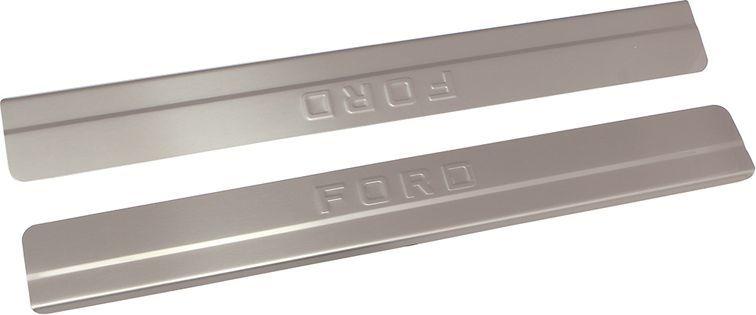 Накладки внутренних порогов DolleX, для FORD Fiesta (2015->), ступенчатые, 2 штNPS-048Придают автомобилю стильный и неповторимый вид, эффективно защищают пороги от повреждения лакокрасочного покрытия.Отличительные особенности:- Полностью повторяет геометрию порога;- Полированная нержавеющая сталь;- Толщина стали 0,5 мм.;- Стильный внешний вид;- Легкая и быстрая установка;- Крепление лента липкая двухсторонняя.Комплект: размер 500х59 мм - 2 шт.