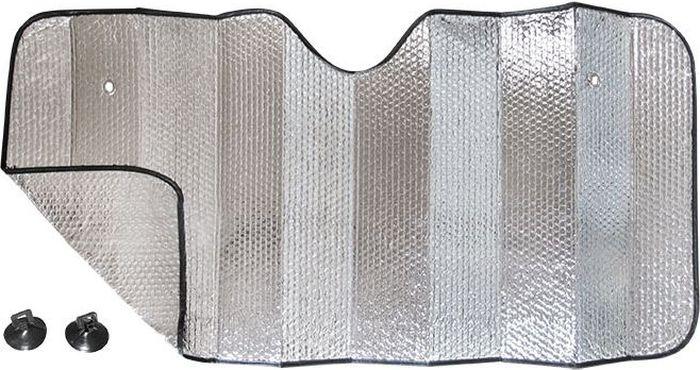 Шторка на лобовое стекло DolleX Silver, двухсторонняя фольга, 130 х 60 смCA-3505Комплект: Шторка 130х60 см. + 2 присоски для установки. Быстро монтируется с помощью присосок. Компактно сворачивается. Алюминиевая непрозрачная основа краски хорошо отражает солнечные лучи и ультрафиолет, защищая материалы отделки салона от их разрушительного воздействия.