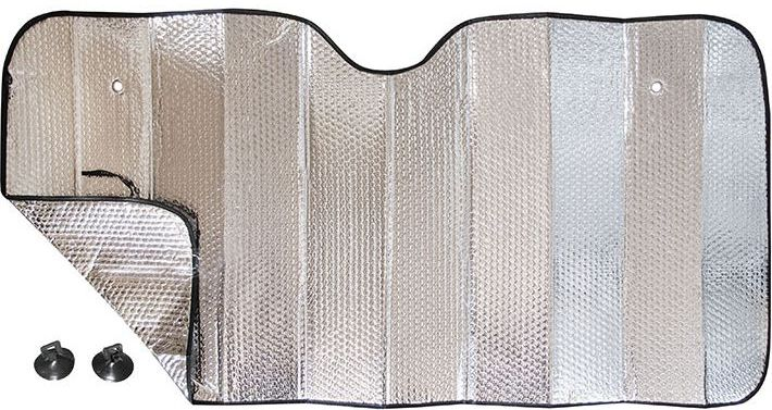 Шторка на лобовое стекло DolleX Silver, двухсторонняя фольга, 145 х 70 смTR0017-01Комплект: Шторка 145х70 см. + 2 присоски для установки. Быстро монтируется с помощью присосок. Компактно сворачивается. Алюминиевая непрозрачная основа краски хорошо отражает солнечные лучи и ультрафиолет, защищая материалы отделки салона от их разрушительного воздействия.