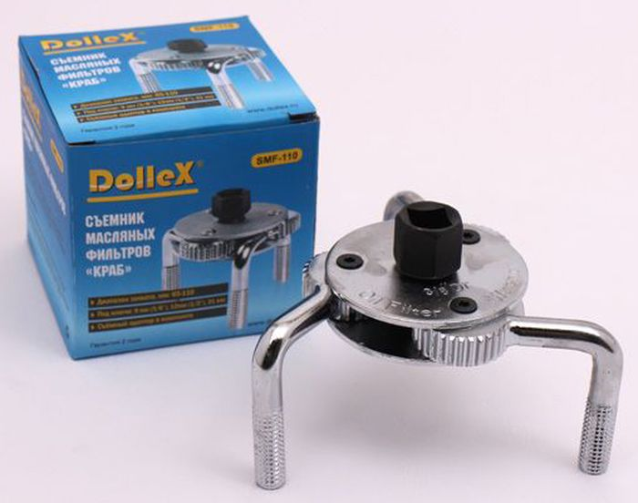 Съемник масляного фильтра DolleX КрабRC-100BWCСъемник масляных фильтров краб применяется для снятия корпусных масляных фильтров легковых автомобилей диаметром 65-110 мм. Диапазон захвата, мм: 65-110ммПод ключи 9мм (3/8), 12мм (1/2) и 21мм.Съемный адаптер в комплекте.