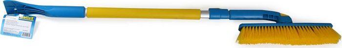 Щетка сметка DolleX, со скребком, раскладная, телескопическая, 90-130 смK100Щетка от снега и льда. Размер: 62-88 см. Щетина средней жесткости. Удобная конструкция с мягкой ручкой. Скребок для чистки льда. Материал: алюминий, полипропилен, пластик (abs)