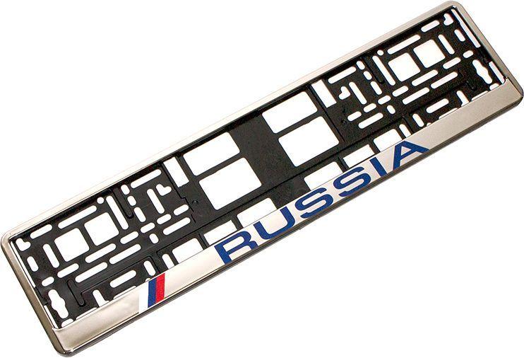 Рамка номерного знака DolleX Russia. SPL-1694672Изготовлена из высококачественного полипропилена;Морозостойкий материал;Адаптирована под номерной знак РФ;Имеет надпись Russia;Цвет: черный