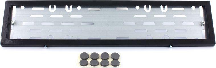 Рамка номерного знака DolleX, с адаптером, цвет: черный. SPL-23SPL-23Рамка номерного знака DolleX изготовлена из нержавеющей стали с прочным полимерным покрытием. Рамка имеет универсальное крепление под различные способы крепления к автомобилю.Адаптер из оцинкованной стали с виброизоляторами в комплекте.Температура эксплуатации: -50°C, +50°C.Размеры (Д х Ш х В): 54 x 15 x 2 см.