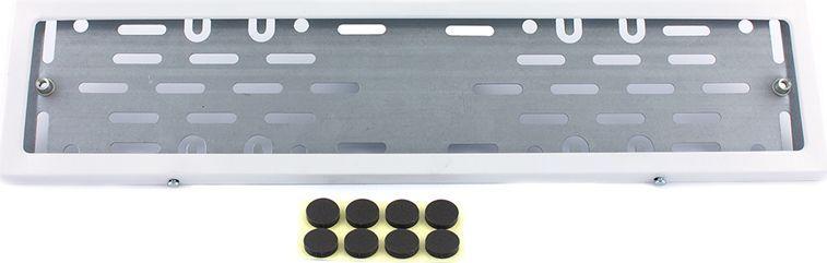 Рамка номерного знака DolleX, с адаптером, цвет: белый. SPL-24SPL-24Рамка номерного знака DolleX изготовлена из нержавеющей стали с прочным полимерным покрытием. Рамка имеет универсальное крепление под различные способы крепления к автомобилю.Адаптер из оцинкованной стали с виброизоляторами в комплекте.Температура эксплуатации: -50°C, +50°C.Размеры (Д х Ш х В): 54 x 15 x 2 см.