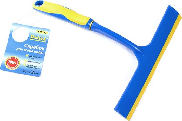 Скребок водосгон DolleX, 22 см998000_красныйШирина 220 мм. Эргономичная ручка. Мягкое лезвие. Идеален для очистки стекол..