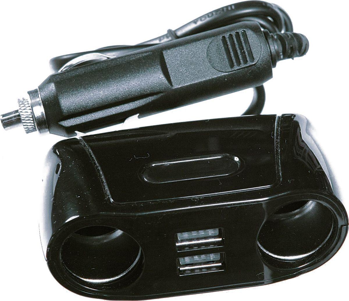 Разветвитель прикуривателя AM, 80 Вт, 2,1A, 2 выхода + 2USB, длина шнура 73 см, цвет: черныйВетерок 2ГФВыход: 5 В, 2.1 А, 80 Вт. Шнур питания 73 см. Предохранитель в штекере. Термостойкий пластик. 2 выхода+2USB