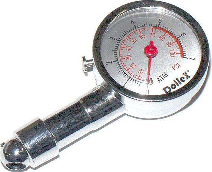 Манометр шинный DolleX, 7 АтмDW25Манометр автомобильный стрелочный предназначен для измерения и контроля давления в шинах. - диапазон измерения 0-7Атм/ 0-100 psi - высокопрочный металлический корпус - измеренные показания фиксируются - оснащен кнопкой сброса Гарантия 2 года.