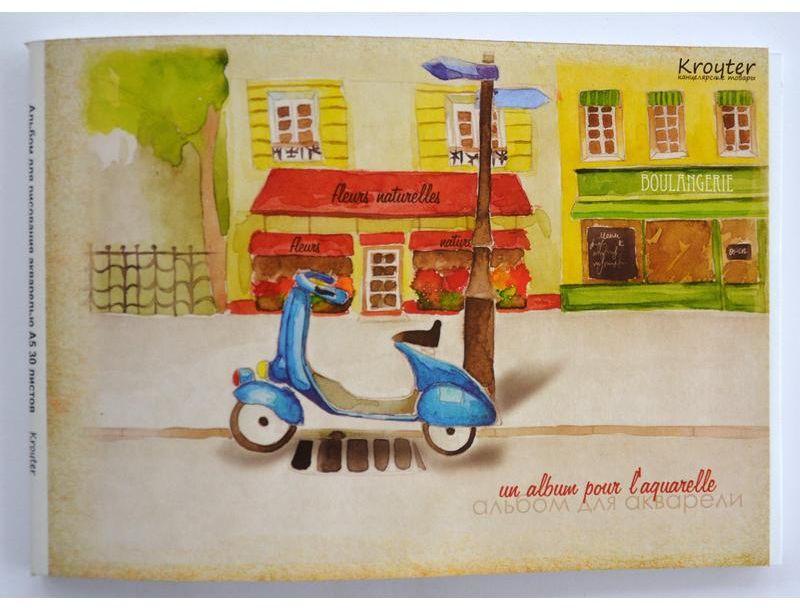 Kroyter Альбом для рисования Город формат А5 30 листов72523WDАльбом для акварели Город формата А5, с твердой подложкой. Блок состоит из 30 листов плотностью 180 г/кв.м. Обложка изготовлена из мелованного картона высокого качества плотностью 250 г/кв.м и оформлена многокрасочной печатью. Альбом предназначен для рисования мелками и любыми видами водорастворимых красок, подходит также для выполнения художественно-графических работ ручками и карандашами. Не рекомендуется для масляных красок. Маленький формат и твердая подложка позволяют использовать его вне дома, а скрепление блока по особой технологии дает возможность извлекать листы без повреждения изделия. В упаковке содержится 20 штук.