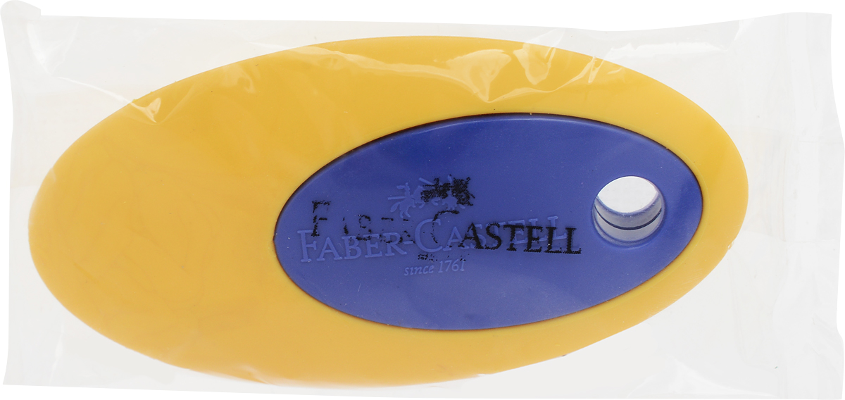 Faber-Castell Ластик цвет синий желтыйFS-36052Ластик Faber-Castell пригоден для графитных карандашей. Имеет овальную форму с пластиковой вставкой в центре.Не содержит ПВХ.