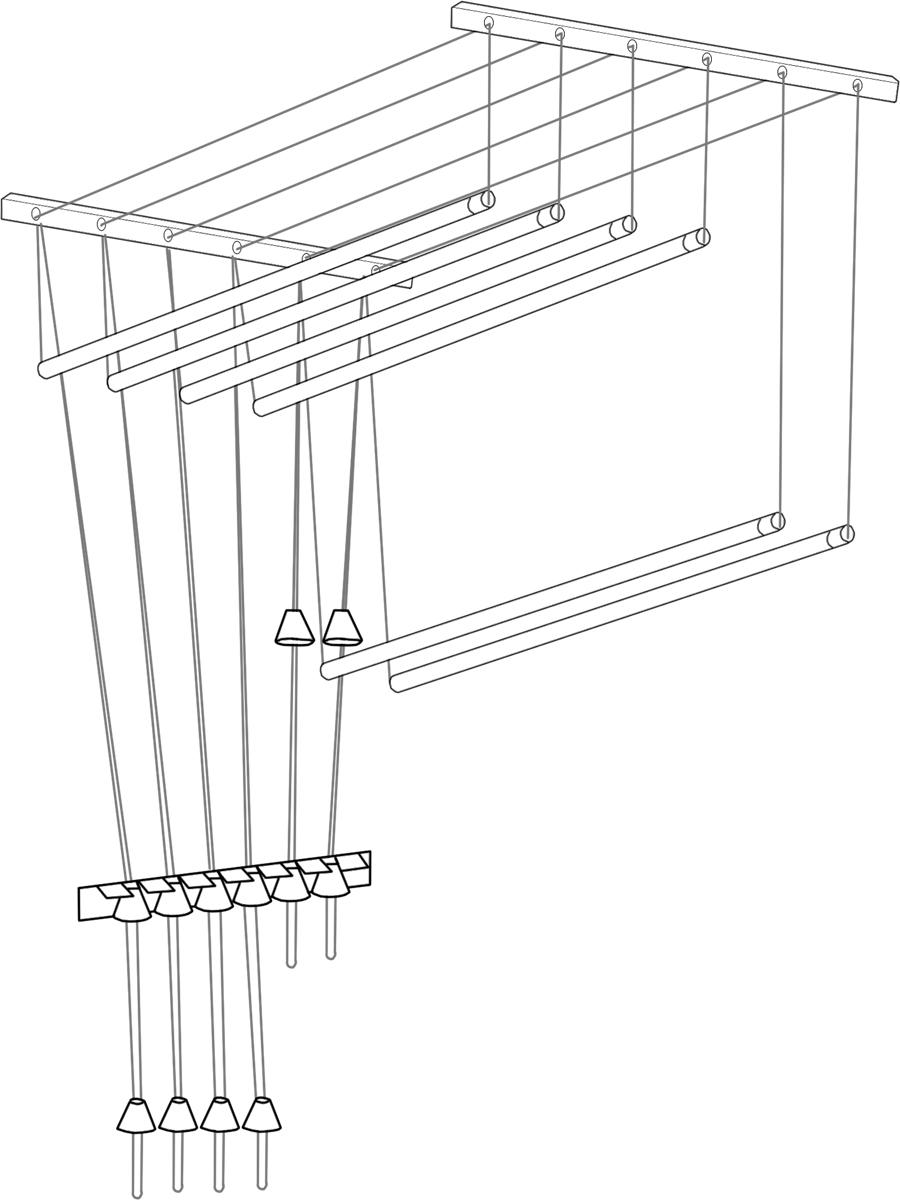 Сушилка для белья ЛакМет Лиана, потолочная, цвет: белый, длина 2,2 мGC204/30Сушилка для белья ЛакМет Лиана позволяет свободно расположить большое количество белья, а также экономит свободное пространства в доме. Изделие можно установить на потолке, балконе или разместить на стеке в ванной. Сушилка включает в себя: пластиковые кронштейны с роликами, которые крепятся к потолку, металлические стержни (подвешиваются горизонтально), фиксирующая скоба (крепится в любом удобном месте стены). Длина сушилки: 2,2 м.Кронштейн: 2 шт. Диаметр стержня: 1,2 см. Количество стержней: 5 шт.