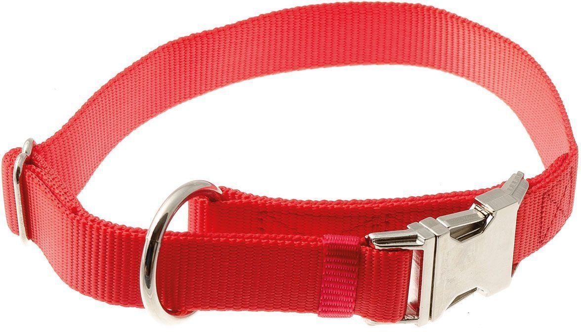 Ошейник для собак  V.I.Pet , нейлоновый, 25 мм, обхват шеи: 40-60 см, цвет: красный - Товары для прогулки и дрессировки (амуниция)