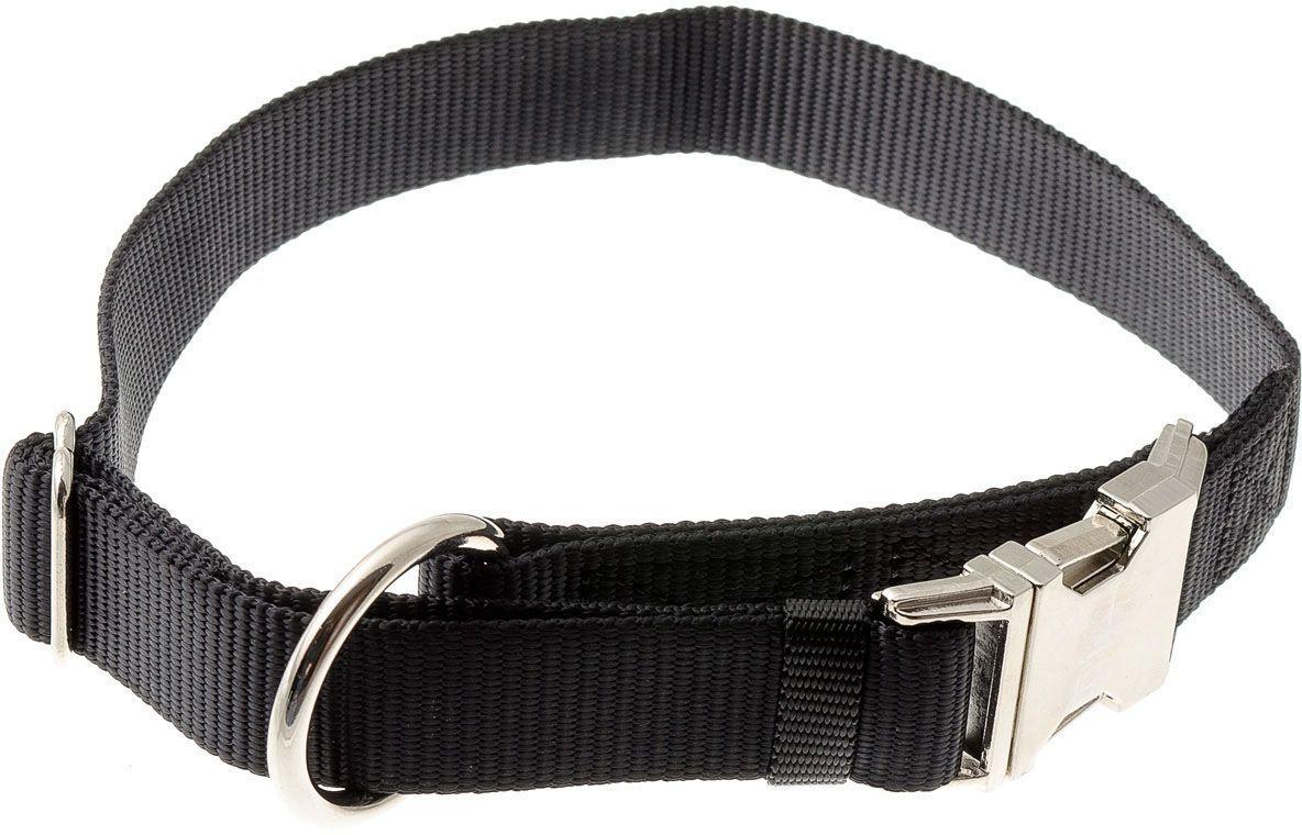 Ошейник для собак  V.I.Pet , нейлоновый, 25 мм, обхват шеи: 40-60 см, цвет: черный - Товары для прогулки и дрессировки (амуниция)