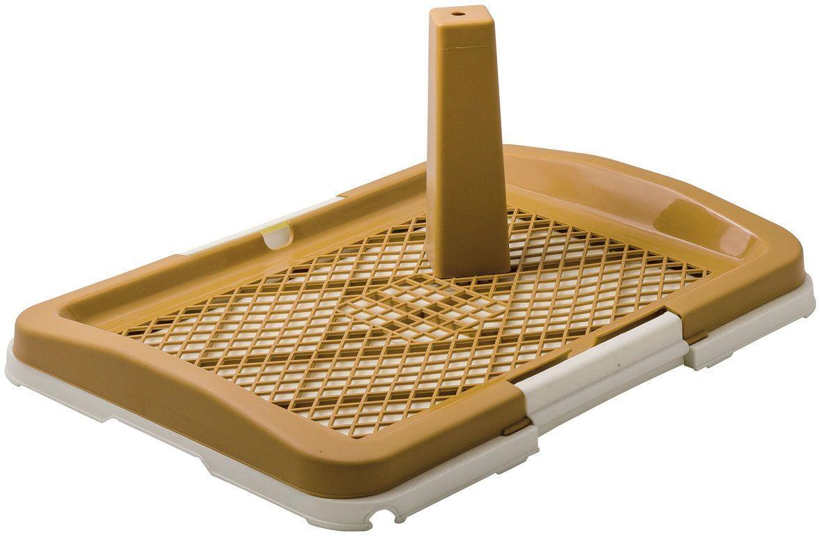 Туалет V.I.Pet, для собак, со столбиком, 48 х 35 х 6 см, малый, цвет: бежевый0120710Туалет предназначен для собак и щенков. Съемный столбик легко крепится на решетку и позволяет применять туалет независимо от пола собаки. Гигиеническая пеленка помещается под решетку, удерживаемую боковыми фиксаторами. Решетка защищает пеленку от погрызов. Туалет легко моется водой.