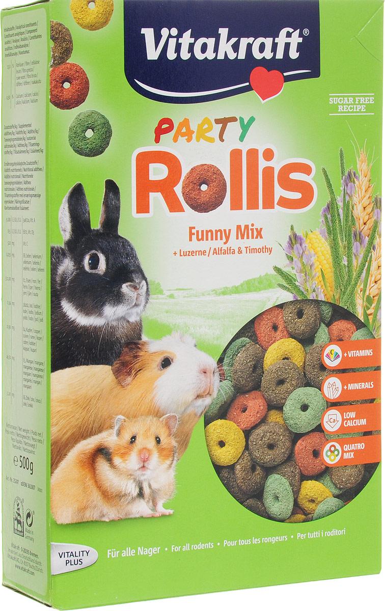 Корм для грызунов Vitakraft Rollis Party, дополнительный, 500 г25247Вкусная и богатая сырой клетчаткой смесьVitakraft Rollis Party - это дополнительный корм для кроликов, морских свинок, шиншилл и дегу. В состав включены колечки, обогащенные жизненно важными витаминами и микроэлементами. Такой корм станет прекрасной добавкой к ежедневному меню вашего питомца.