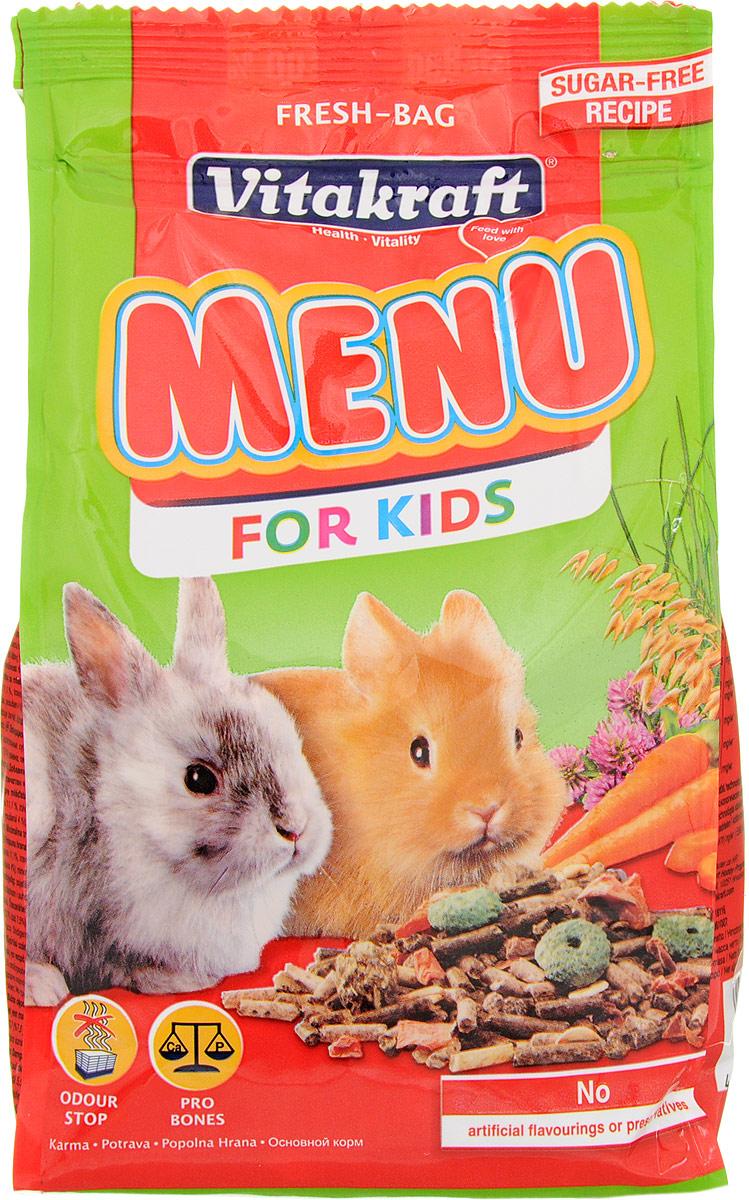 Корм для молодых кроликов Vitakraft Menu Kids, 500 г0120710Корм Vitakraft Menu Kids специально разработан для обеспечения правильного питания детенышей карликовых кроликов, начиная с 3 недели жизни. Он содержит все необходимые питательные вещества, сбалансированный набор витаминов и минералов с легко усваиваемыми злаками. Также в состав входит хрустящая морковка и богатая балластными веществами люцерна. Товар сертифицирован.