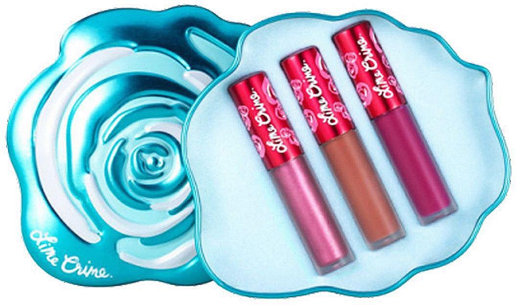Lime Crime Набор матовых помад для губ Mini Velvetines Blue Rose, 2,7 млL001-47-0000Velve-Tins - подарочные наборы с мини-версиями помад VELVETINES. В каждом трио из матовых и металлических оттенков, включая лимитированные версии. 5 наборов собраны в оригинальных коробочках, символизирующих разноцветные бутоны роз.