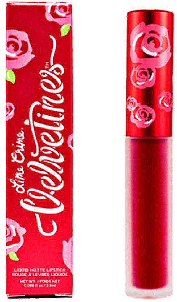 Lime Crime Помада для губ матовая Velvetines Red Rose, 2,6 мл6Помада имеет невероятную стойкость – она плотно держится на губах с момента нанесения до момента снятия макияжа, абсолютно не размазывается и не стирается ни при каких условиях, даже при контакте с водой, поцелуях или приеме пищи. Смывается помада только специальными средствами для снятия макияжа.