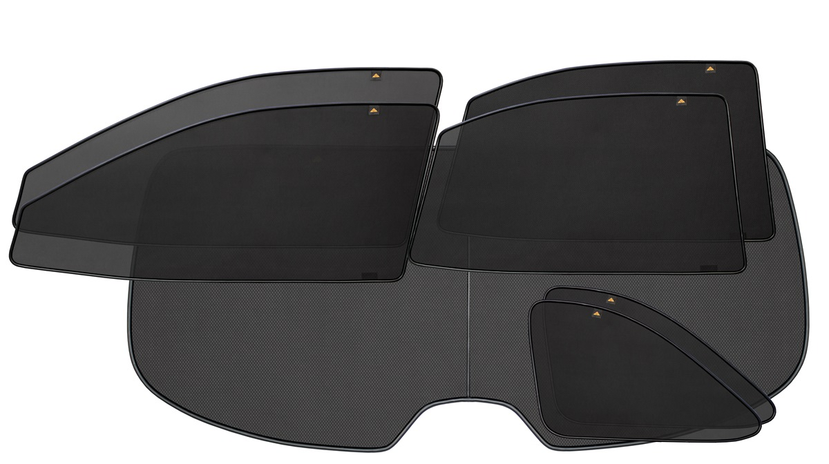 Набор автомобильных экранов Trokot для Toyota Land Cruiser Prado 120 (2002-2009) (ЗВ - запаска на пятой двери), 7 предметовTR0846-01Каркасные автошторки точно повторяют геометрию окна автомобиля и защищают от попадания пыли и насекомых в салон при движении или стоянке с опущенными стеклами, скрывают салон автомобиля от посторонних взглядов, а так же защищают его от перегрева и выгорания в жаркую погоду, в свою очередь снижается необходимость постоянного использования кондиционера, что снижает расход топлива. Конструкция из прочного стального каркаса с прорезиненным покрытием и плотно натянутой сеткой (полиэстер), которые изготавливаются индивидуально под ваш автомобиль. Крепятся на специальных магнитах и снимаются/устанавливаются за 1 секунду. Автошторки не выгорают на солнце и не подвержены деформации при сильных перепадах температуры. Гарантия на продукцию составляет 3 года!!!