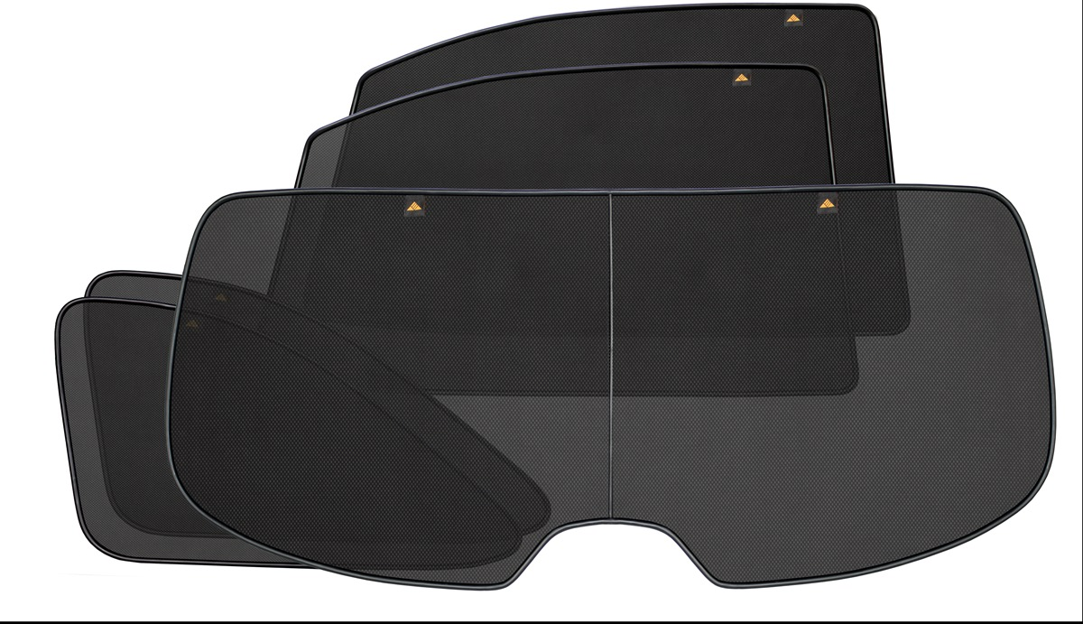 Набор автомобильных экранов Trokot для BMW 5 E61 (2003-2010), на заднюю полусферу, 5 предметов0105070101Каркасные автошторки точно повторяют геометрию окна автомобиля и защищают от попадания пыли и насекомых в салон при движении или стоянке с опущенными стеклами, скрывают салон автомобиля от посторонних взглядов, а так же защищают его от перегрева и выгорания в жаркую погоду, в свою очередь снижается необходимость постоянного использования кондиционера, что снижает расход топлива. Конструкция из прочного стального каркаса с прорезиненным покрытием и плотно натянутой сеткой (полиэстер), которые изготавливаются индивидуально под ваш автомобиль. Крепятся на специальных магнитах и снимаются/устанавливаются за 1 секунду. Автошторки не выгорают на солнце и не подвержены деформации при сильных перепадах температуры. Гарантия на продукцию составляет 3 года!!!