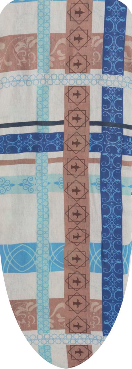 Чехол для гладильной доски Eva, цвет: синий, коричневый, 129 х 45 смЕ1301_темно-коричневый, бежевый, белыйЧехол для гладильной доски Eva Цветы выполнен из хлопчатобумажной ткани с поролоновой подкладкой. Чехол предназначен для защиты или замены изношенного покрытия гладильной доски. Чехол снабжен прочной резинкой, при помощи которой вы легко зафиксируете его на рабочей поверхности гладильной доски.Размер чехла: 129 см х 45 см. Максимальный размер доски: 120 см х 38 см.