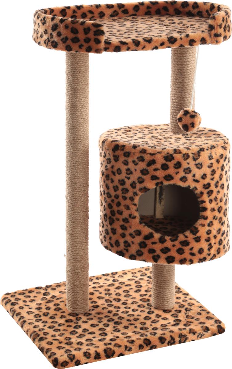 Домик-когтеточка Меридиан, круглый, с площадкой, цвет: коричневый, черный, бежевый, 52 х 52 х 105 смК032 ЦвДомик-когтеточка Меридиан выполнен из высококачественного ДВП и ДСП и обтянут искусственным мехом. Изделие предназначено для кошек. Ваш домашний питомец будет с удовольствием точить когти о специальные столбики, изготовленные из джута. А отдохнуть он сможет либо на полке, либо в домике. Изделие снабжено подвесной игрушкой. Домик-когтеточка Меридиан принесет пользу не только вашему питомцу, но и вам, так как он сохранит мебель от когтей и шерсти.Общий размер: 52 х 52 х 105 см.Размер домика: 35 х 35 х 32 см.Размер полки: 51 х 29 см.