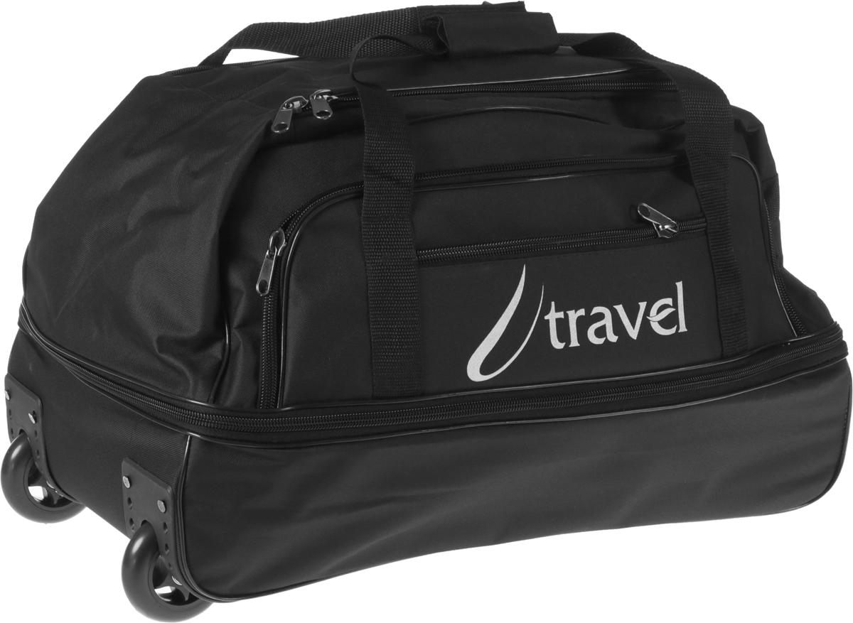 Сумка дорожная AMeN, с выдвижной ручкой, на колесах, цвет: черный. 12622021262202Стильная дорожная сумка AMeN прекрасно подойдет для путешествий так и для деловых поездок. Сумка выполнена из текстиля. Изделие имеет одно основное отделение с расширением, закрывающееся на застежку-молнию. Снаружи, расположен накладной карман и врезной карман на застежке-молнии. Модель оснащена двумя удобными ручками для переноски в руках. Для более удобной транспортировки основание изделия оснащено удобной выдвижной ручкой и двумя колесиками. Основание - жесткое, дополнено пластиковыми ножками.Такая дорожная сумка сможет вместить в себя все самое необходимое для путешествия.Торговая марка AMeN производит сумки на собственной фабрике. При пошиве изделий используются современные материалы, обеспечивающие износостойкость и яркость материала. Дизайн аксессуаров разрабатывается в соответствии с последними модными тенденциями.Длина выдвижной ручки: 36 см.