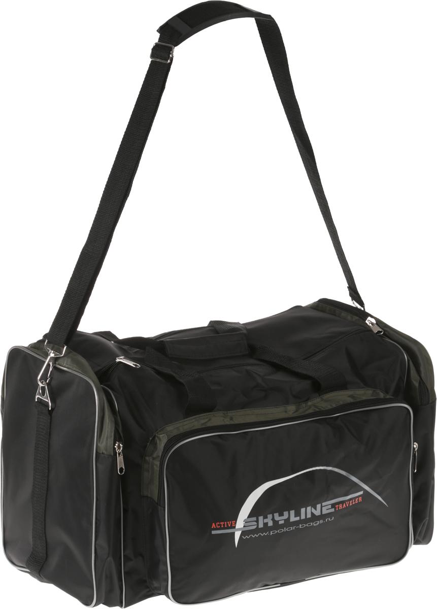Сумка спортивная Polar  Нейлон , цвет: черный, хаки, 50 л. 6008 - Дорожные сумки