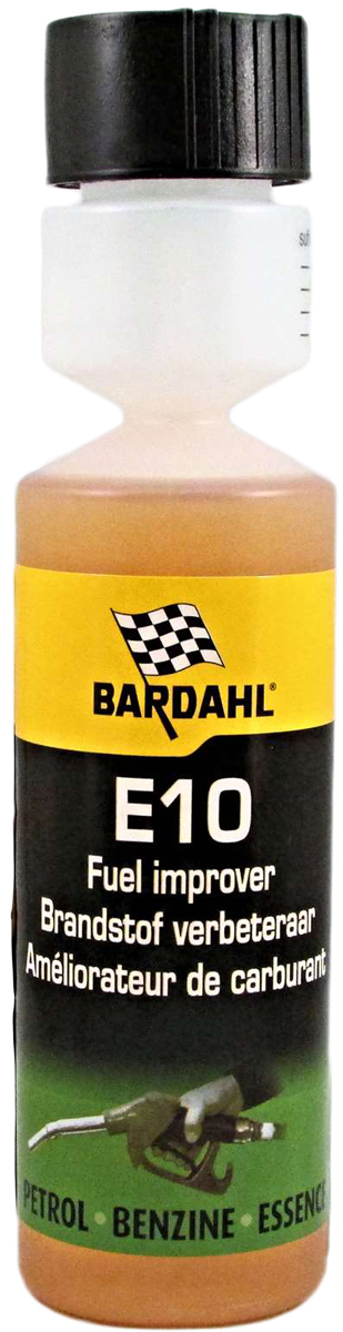Добавка многофункциональная Bardahl Е10 - Fuel Improver, стабилизирующая, в бензин, 250 млSVC-300Предназначена в качестве профилактической меры для тех, кто в будущем хочет исключить проблемы с компонентами топливной системы. Спецификации:- Снижает расход топлива.- Мягко очищает топливную систему.- Мерный стаканчик в комплекте.