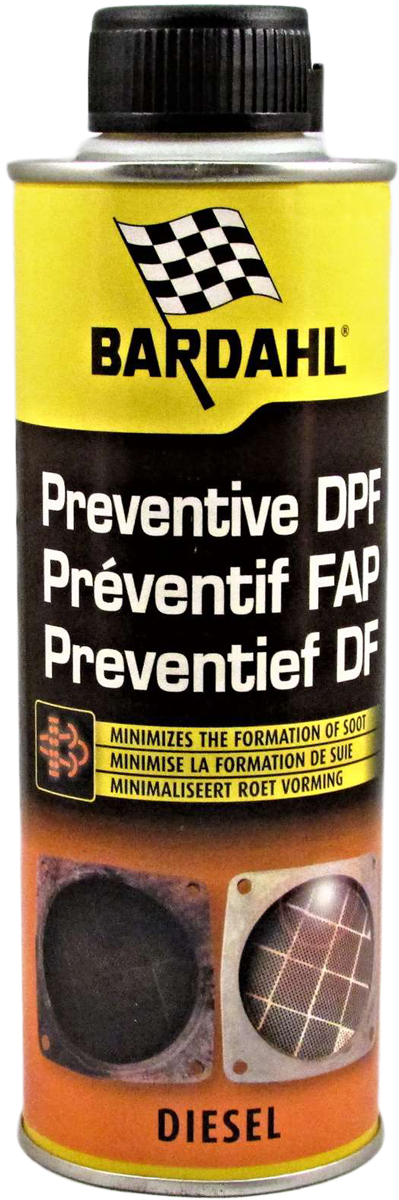 Добавка протектор сажевого фильтра Bardahl Preventive DPF Treatment, в дизельное топливо, 300 мл121113Профилактический Очиститель сажевого фильтра. Bardahl Preventive DPF Cleaner позволяет:- Снизить температуру горения сажи: дизельные частицы сгорают при достижении температуры выше 600°С. Но к тому моменту, когда частицы попадают в фильтр, температуры падают до 300-350°С, что приводит к накоплению несгоревших отложений в фильтре. Благодаря своим активным ингредиентам, этот продукт уменьшает температуру, при которой частицы будут воспламеняться, таким образом удаляя накопления загрязняющие фильтр. - Остановить процесс закупоривание фильтра из-за накопления сажи. - Предотвратить повреждения отдельных компонентов фильтра, которые позволяют дожигать вредные частицы (NO). - Предотвращает увеличение расхода топлива, потерю мощности и замену дорогостоящих деталей, вызванных закупориванием фильтра и последующим скоплением выхлопных газов в двигателе. - Разрушает и сжигает сажу, накопленную внутри DPF фильтра. -Продлевает срок службы и правильного функционирования сажевого фильтра. Инструкция по применению:Влить Профилактический Очиститель Сажевого Фильтра Bardahl Preventive DPF Cleaner в топливный бак, содержащий 15 литров дизельного топлива. Как можно дольше не пополняйте топливный бак. Обработку следует проводить минимум один раз в год. Особо рекомендован для автомобилей, используемых на короткие дистанции и в городском режиме вождения.