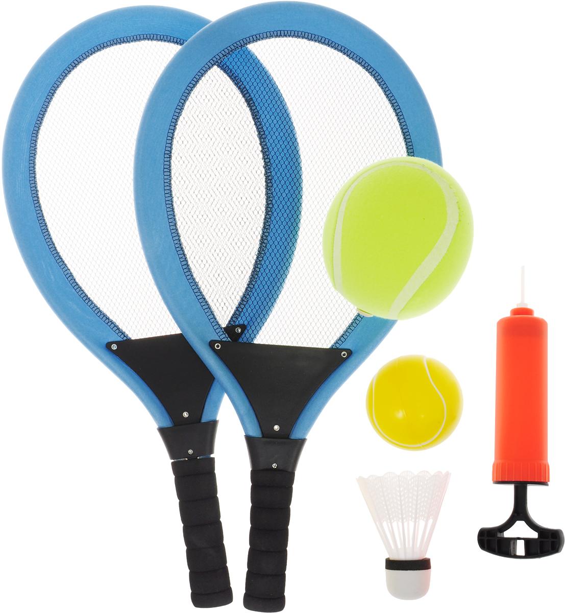 ABtoys Игровой набор Бадминтон и теннис цвет голубой черный