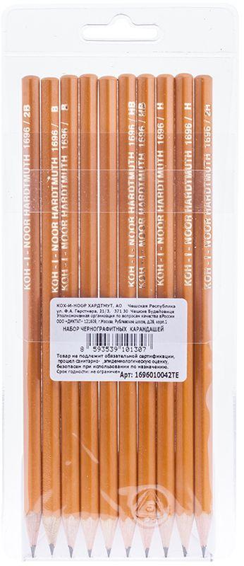 Koh-I-Noor Набор чернографитных карандашей 10 шт72523WDНабор конструкторских чернографитных карандашей без ластика различной твердости, заточенные. Отлично подойдут для школы, офиса. Из натурального дерева. В наборе 10 штуки.