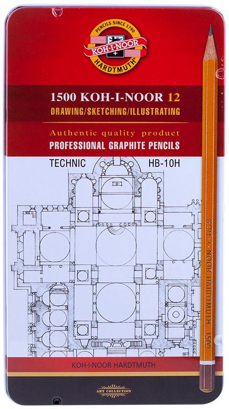 Koh-I-Noor Набор чернографитных карандашей 1500 Technic 12 шт1502012007PLПрофессиональные высококачественные чернографитные карандаши с ластиком Koh-I-Noor из дерева подходят для чертежных и оформительских работ. Карандаши предварительно заточены, имеют шестигранную форму корпуса.
