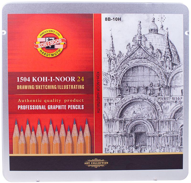 Koh-I-Noor Набор чернографитных карандашей 24 шт2010440Карандаш Koh-I-Noor с обозначением 1500 — это самый известный графитный карандаш в мире. Профессиональные высококачественные чернографитные карандаши 1500 подходят для чертежных и оформительских работ. Твердость грифеля – 8В-10Н.