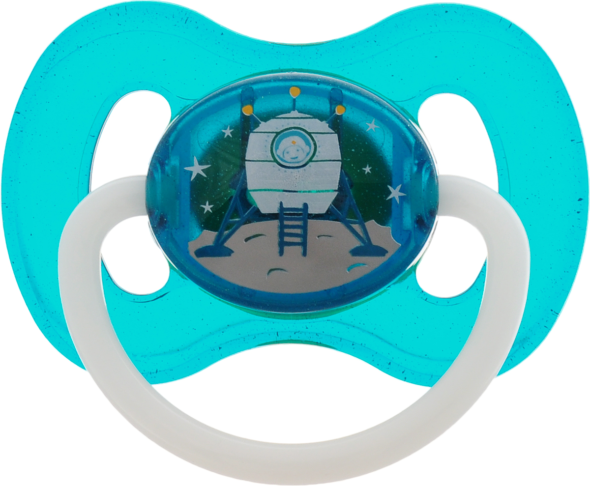 Canpol Babies Пустышка латексная Space от 0 до 6 месяцев цвет бирюзовый