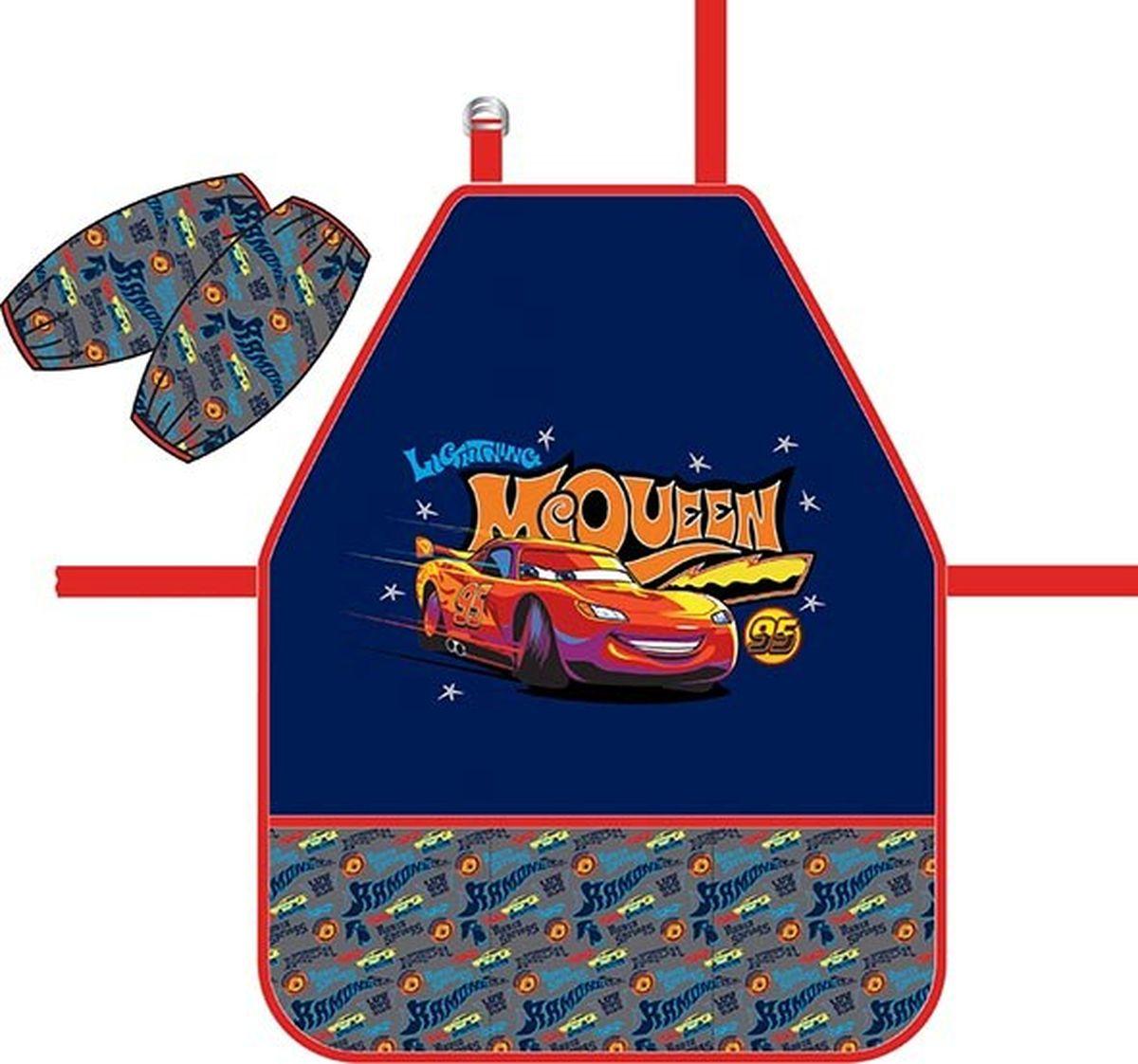 Фартук для детского творчества с нарукавниками. Нарукавники на липучках-фиксаторах. Легкая ткань с водоотталкивающей пропиткой. Фартук дополнен тремя кармашками.
