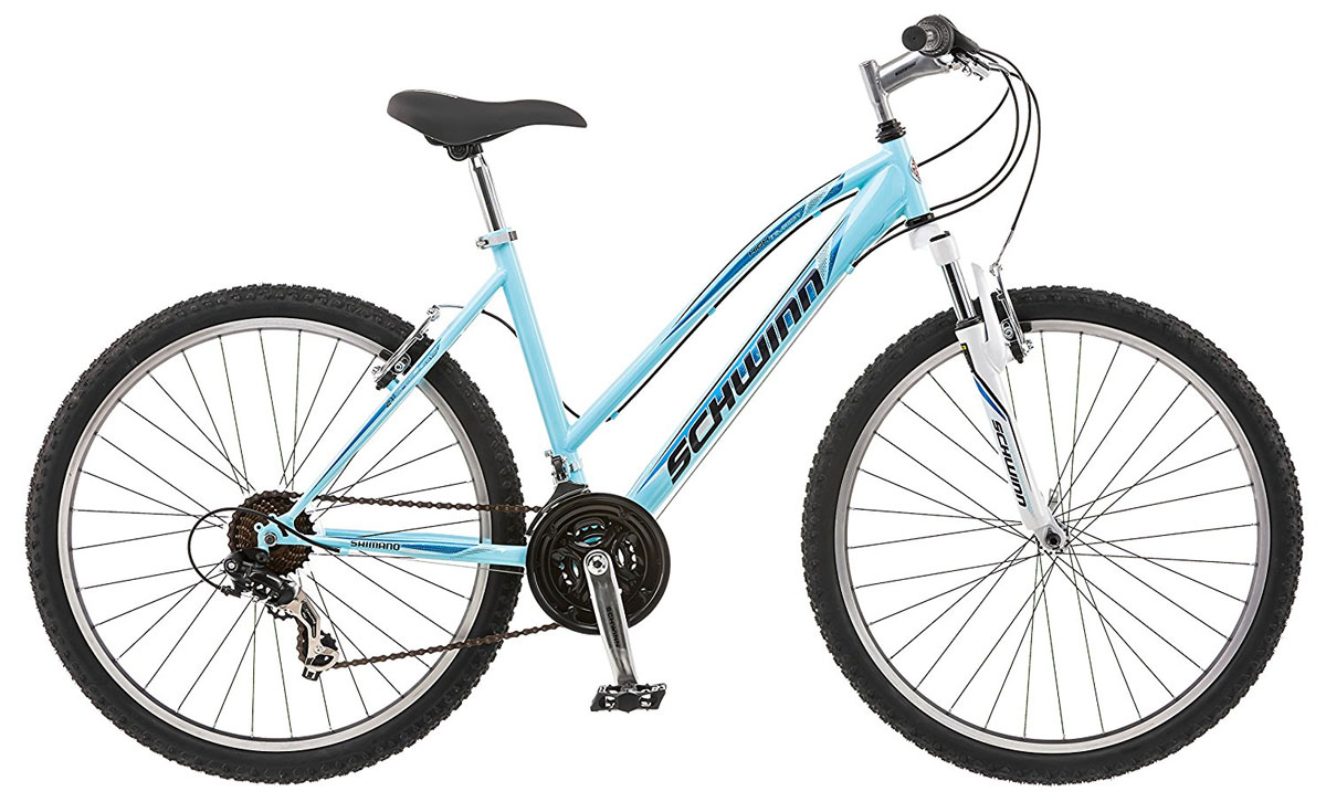 Велосипед горный Schwinn High Timber, женский, цвет: голубой, белый, рама 16, колеса 26S4009CSchwinn High Timber – это спортивный велосипед для девушек, предпочитающих активный отдых. Любите кататься по любым ландшафтам с комфортом, устойчивостью, маневренностью и главное безопасностью? Горный велосипед со спортивной посадкой станет верным спутником для любой прогулки. Этот оснащен амортизационной вилкой, которая отлично отрабатывает неровности и уменьшает вибрации на руле. Заниженная рама велосипеда размером 16 позволяет кататься в платье или сарафане и быстро спрыгнуть в непредвиденной ситуации.Прочная заниженная MTB рама размером 16.Амортизационная вилка с подпружиненными пыльниками.Простые в настройке и обслуживании ободные тормоза для любой погоды.Переключатели передач Shimano Tourney.21 скорость.Руль и седло регулируются по высоте и наклону.Защита цепи.Алюминиевые обода.Быстросъемные колеса на эксцентриковых осях.Подножка в комплекте.
