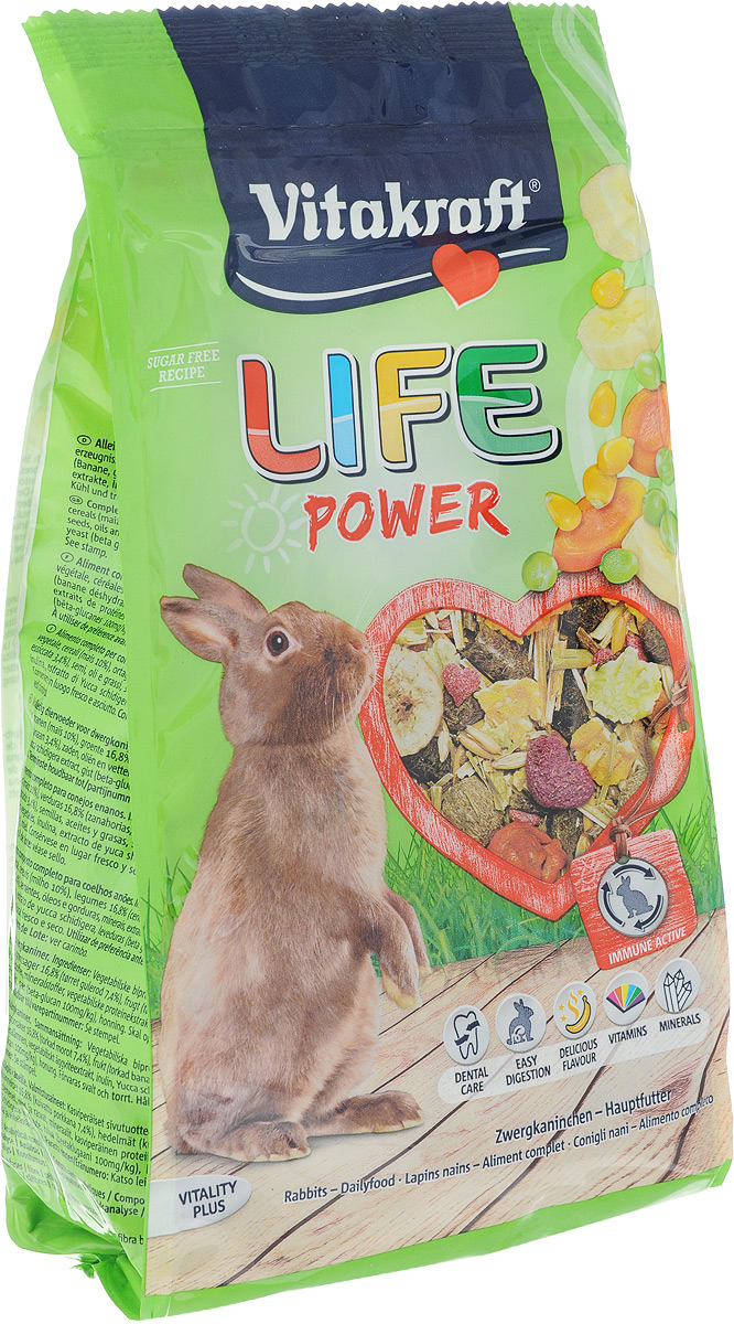 Корм для кроликов Vitakraft Life Power, 600 г25119Корм для кроликов Vitakraft Life Power - это вкусный, полезный, низкокалорийный комбинированный корм класса премиум из натуральных компонентов. Содержит кусочки бананов и моркови для дополнительной энергии. Бета-глюканы укрепляют иммунную систему, а сырая клетчатка способствует улучшению пищеварения и стачиванию зубов. Корм обеспечивает кролика всеми необходимыми витаминами и микроэлементами. Содержит компоненты, уменьшающие неприятный запах. Герметичная упаковка с зип-замком идеально сохраняет оптимальную влажность, вкусовые и питательные качества продукта. Состав: компоненты растительного происхождения, злаки (10% кукуруза), 16,8% овощи (7,4% морковь), фрукты (3,4% бананы), семена, масла и жиры, минералы, экстракт растительного протеина, инулин, экстракт юкки, дрожжи (бета-глюканы 100 мг/кг), мед. Товар сертифицирован.