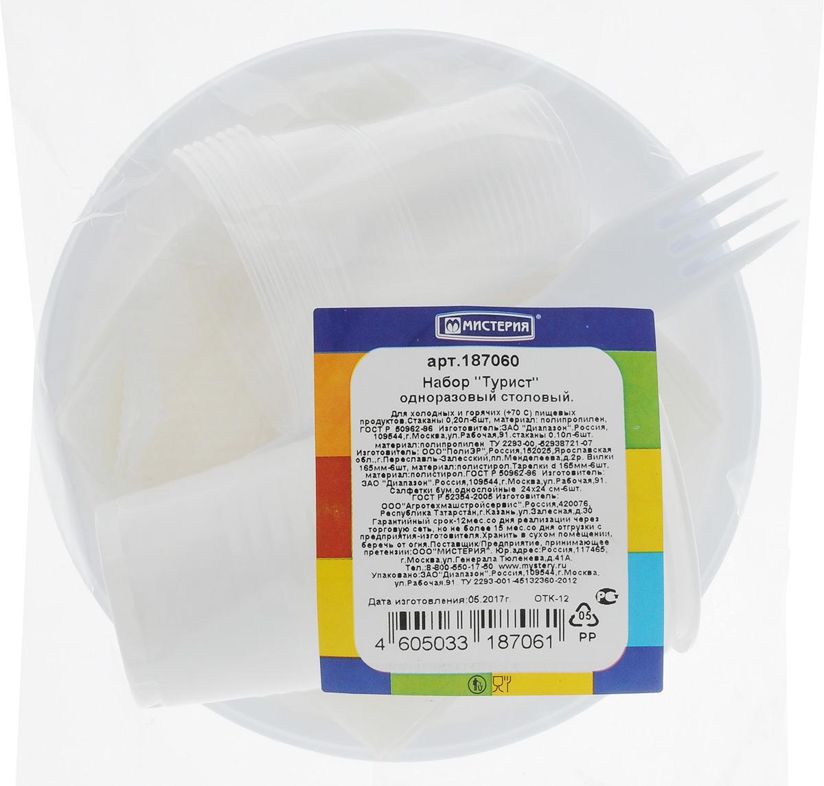 Набор одноразовой посуды Мистерия Турист, 30 предметовПОС31Набор одноразовой посуды Мистерия Турист на 6 персон включает 6 тарелок, 6 вилок, 6 больших стаканов, 6 маленьких стаканов и 6 салфеток. Посуда выполнена из пищевого пластика, предназначена для холодных и горячих (до +70°С) пищевых продуктов. Такой набор посуды отлично подойдет для отдыха на природе. В нем есть все необходимое для пикника. Он легкий и не занимает много места, а самое главное - после использования его не надо мыть. Объем большого стакана: 200 мл. Диаметр большого стакана (по верхнему краю): 7 см. Высота большого стакана: 9,5 см. Объем маленького стакана: 100 мл. Диаметр маленького стакана (по верхнему краю): 6,5 см. Высота маленького стакана: 6,5 см. Диаметр тарелки: 16,5 см. Длина вилки: 16,5 см. Размер салфетки: 24 х 24 см.