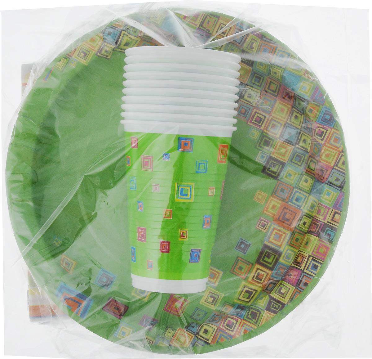 Набор одноразовой посуды Мистерия Стандарт, 40 предметовПОС02312Набор одноразовой посуды Мистерия Стандарт на 10 персон включает 10 тарелок, 10 стаканов и 20 салфеток. Посуда предназначена для холодных и горячих (до +70°С) пищевых продуктов и напитков. Стаканы выполнены из прочного полипропилена, а тарелки - из ламинированного картона. В комплекте также имеются трехслойные бумажные салфетки. Все предметы набора дополнены ярким красочным рисунком. Такой набор посуды отлично подойдет для отдыха на природе, пикников, а также детских праздников. В нем есть все необходимое. Он легкий и не занимает много места, а самое главное - после использования его не надо мыть. Объем стакана: 200 мл. Диаметр стакана (по верхнему краю): 7 см. Высота стакана: 10 см. Диаметр тарелки: 23 см. Размер салфетки: 33 х 33 см.