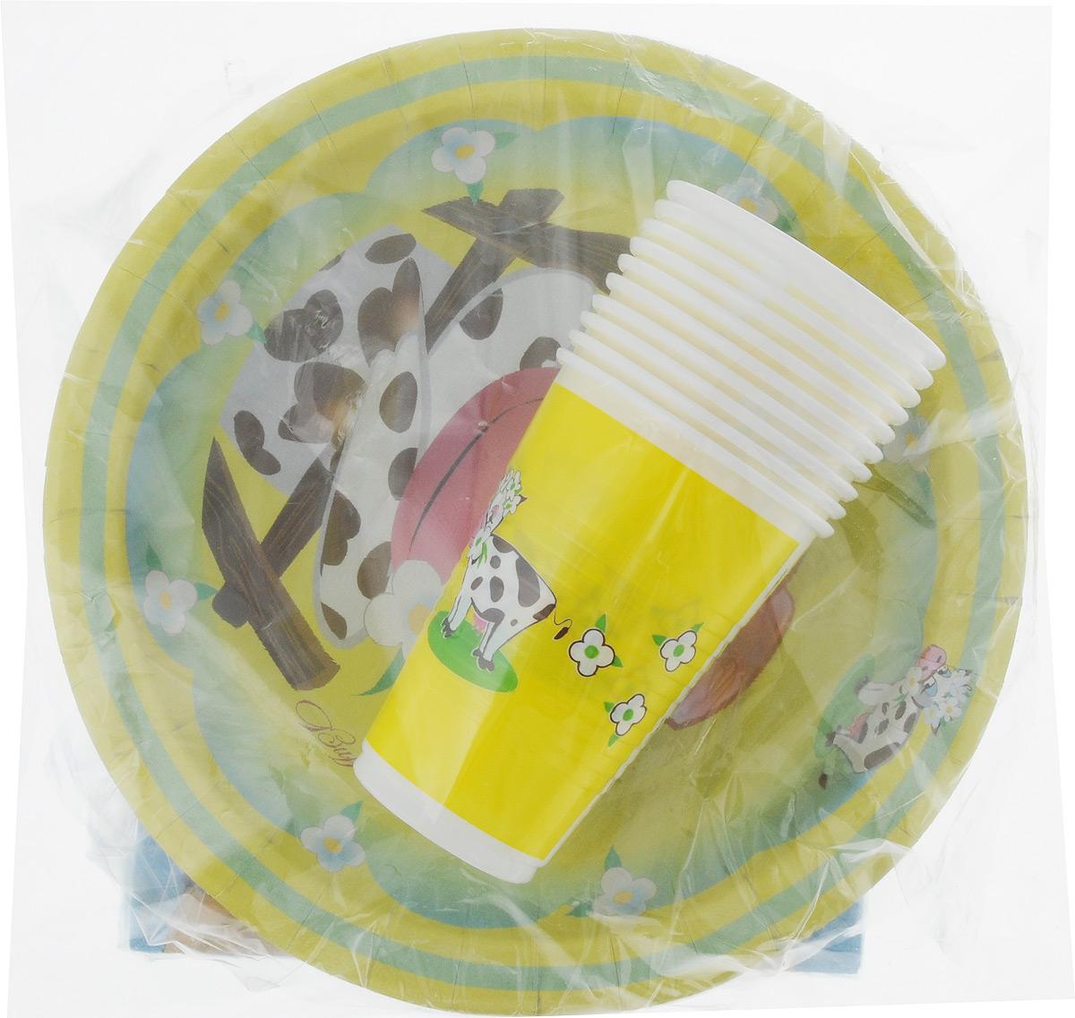 Набор одноразовой посуды Мистерия Детский, 40 предметов170217Набор одноразовой посуды Мистерия Детский на 10 персон включает 10 тарелок, 10 стаканов и 20 салфеток. Посуда предназначена для холодных и горячих (до +70°С) пищевых продуктов и напитков. Стаканы выполнены из прочного полипропилена, а тарелки - из ламинированного картона. В комплекте также имеются двухслойные бумажные салфетки. Все предметы набора дополнены ярким красочным рисунком. Такой набор посуды отлично подойдет для отдыха на природе, пикников, а также детских праздников. В нем есть все необходимое. Он легкий и не занимает много места, а самое главное - после использования его не надо мыть. Объем стакана: 200 мл. Диаметр стакана (по верхнему краю): 7 см. Высота стакана: 10 см. Диаметр тарелки: 23 см. Размер салфетки: 33 х 33 см.